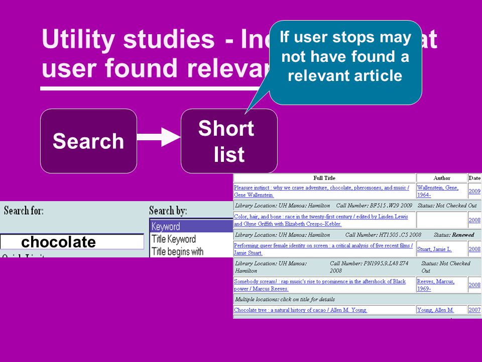 Utility studies - Indications that user found relevant materials Search Short list If user stops may not have found a relevant article chocolate