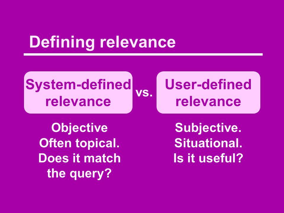 Defining relevance System-defined relevance User-defined relevance vs.