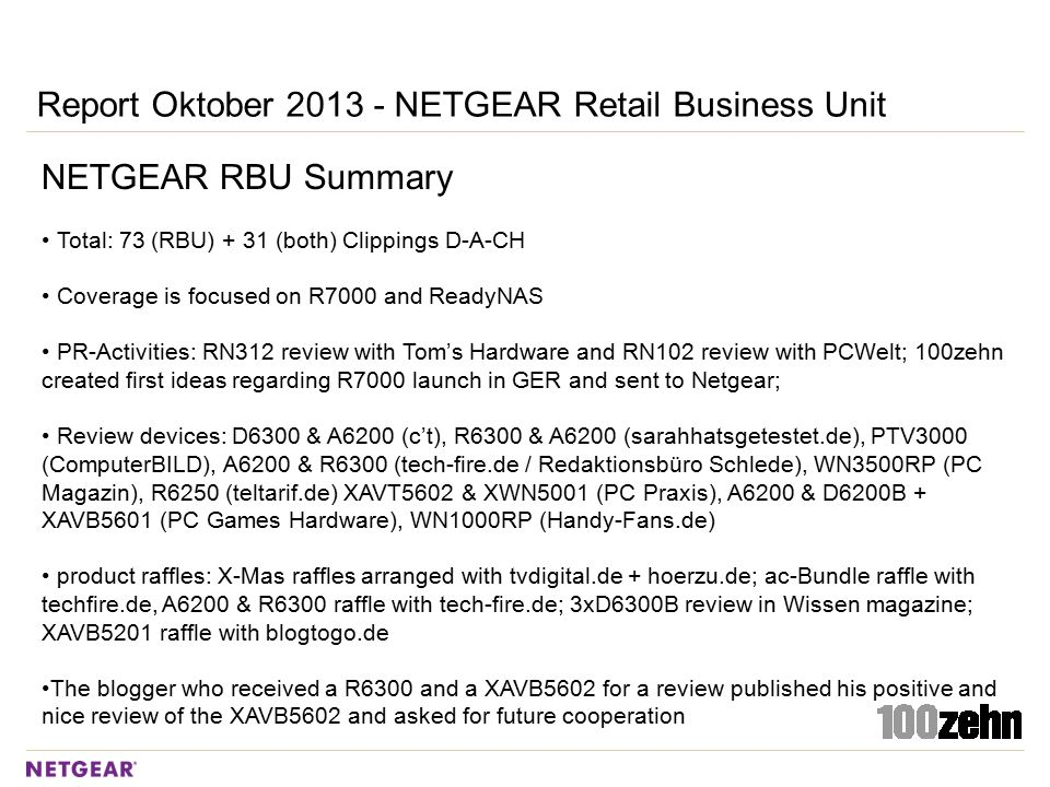 Report Oktober 2013 - NETGEAR Retail Business Unit NETGEAR RBU Summary Total: 73 (RBU) + 31 (both) Clippings D-A-CH Coverage is focused on R7000 and R
