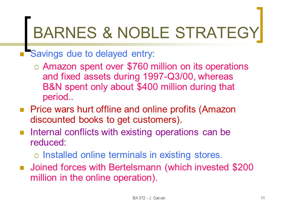 BA 572 - J. Galván11 BARNES & NOBLE STRATEGY Savings due to delayed entry:  Amazon spent over $760 million on its operations and fixed assets during
