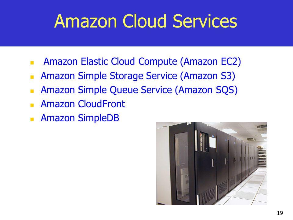 Amazon Cloud Services Amazon Elastic Cloud Compute (Amazon EC2) Amazon Simple Storage Service (Amazon S3) Amazon Simple Queue Service (Amazon SQS) Amazon CloudFront Amazon SimpleDB 19