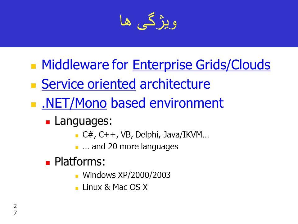 27 ویژگی ها Middleware for Enterprise Grids/Clouds Service oriented architecture.NET/Mono based environment Languages: C#, C++, VB, Delphi, Java/IKVM… … and 20 more languages Platforms: Windows XP/2000/2003 Linux & Mac OS X