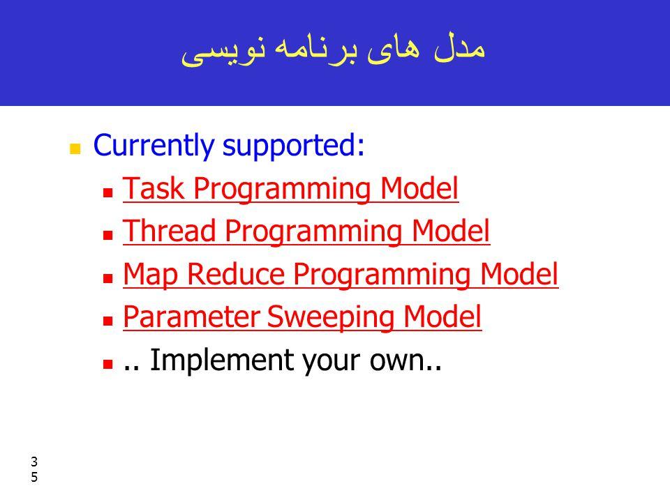 35 مدل های برنامه نویسی Currently supported: Task Programming Model Thread Programming Model Map Reduce Programming Model Parameter Sweeping Model..