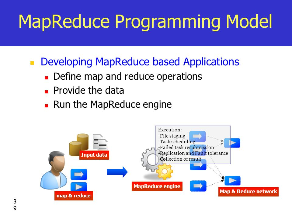 39 MapReduce Programming Model Developing MapReduce based Applications Define map and reduce operations Provide the data Run the MapReduce engine Input data map & reduce MapReduce engine Map & Reduce network Execution: -File staging -Task scheduling -Failed task resubmission -Replication and Fault tolerance -Collection of result
