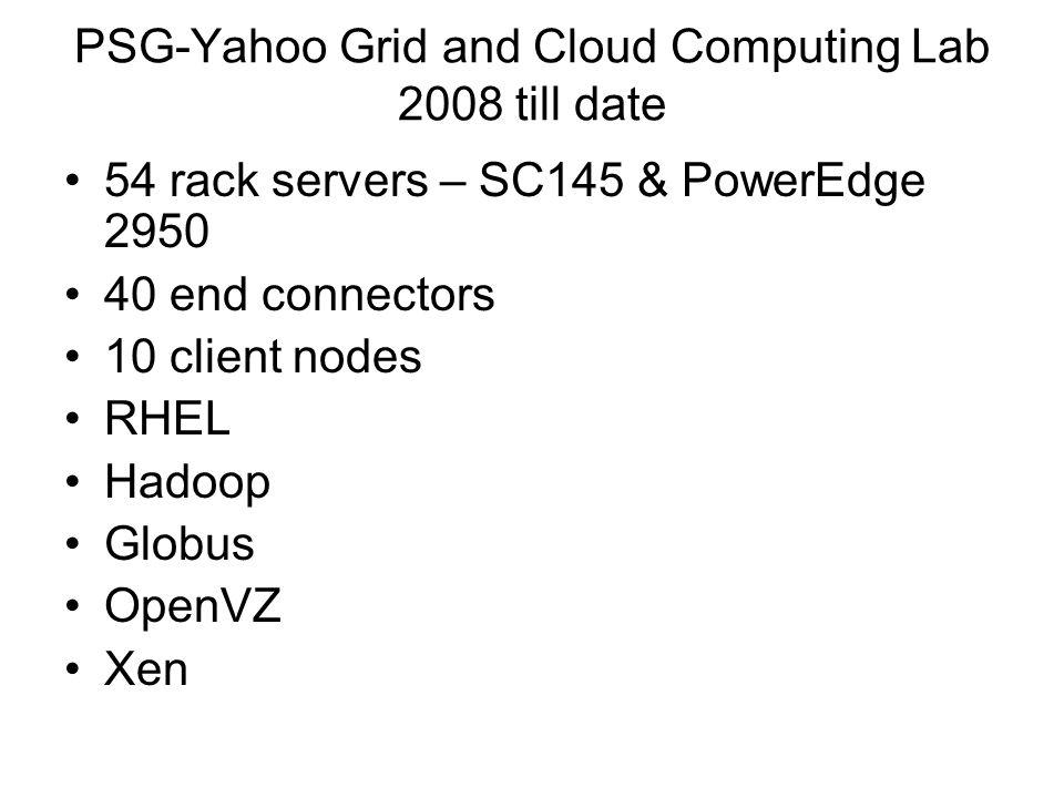 PSG-Yahoo Grid and Cloud Computing Lab 2008 till date 54 rack servers – SC145 & PowerEdge 2950 40 end connectors 10 client nodes RHEL Hadoop Globus Op