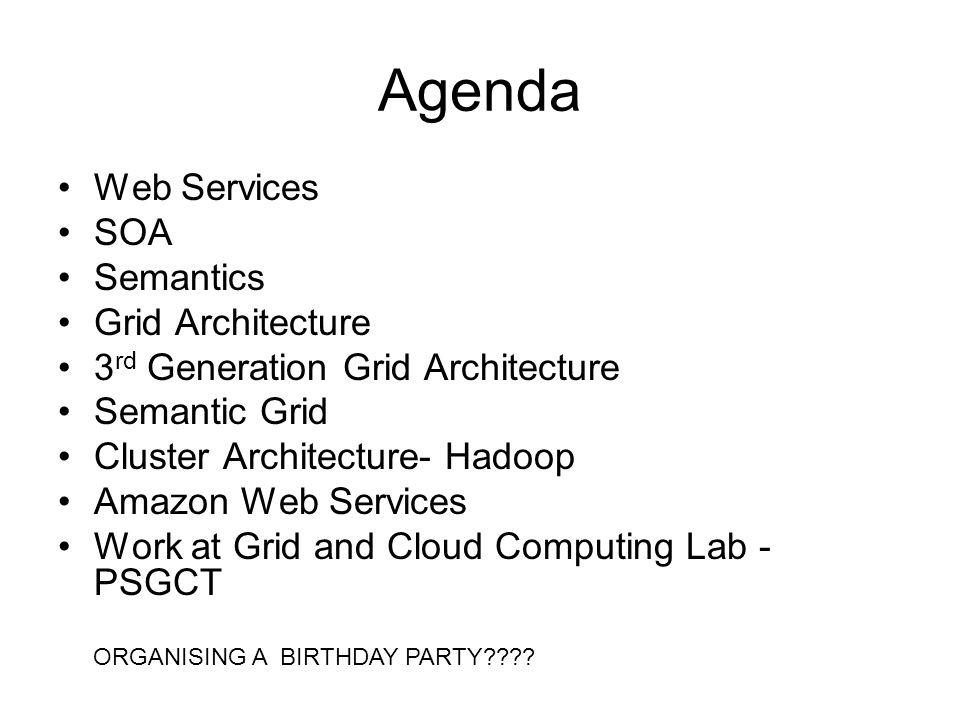 Agenda Web Services SOA Semantics Grid Architecture 3 rd Generation Grid Architecture Semantic Grid Cluster Architecture- Hadoop Amazon Web Services W