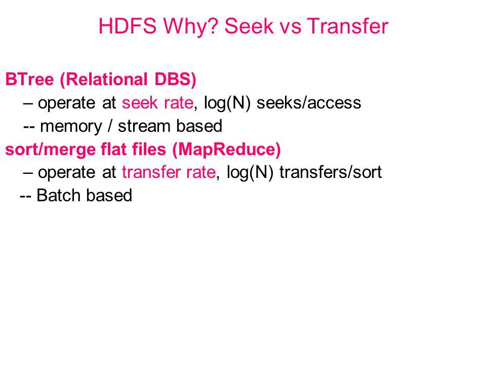 HDFS Why? Seek vs Transfer BTree (Relational DBS) – operate at seek rate, log(N) seeks/access -- memory / stream based sort/merge flat files (MapReduc