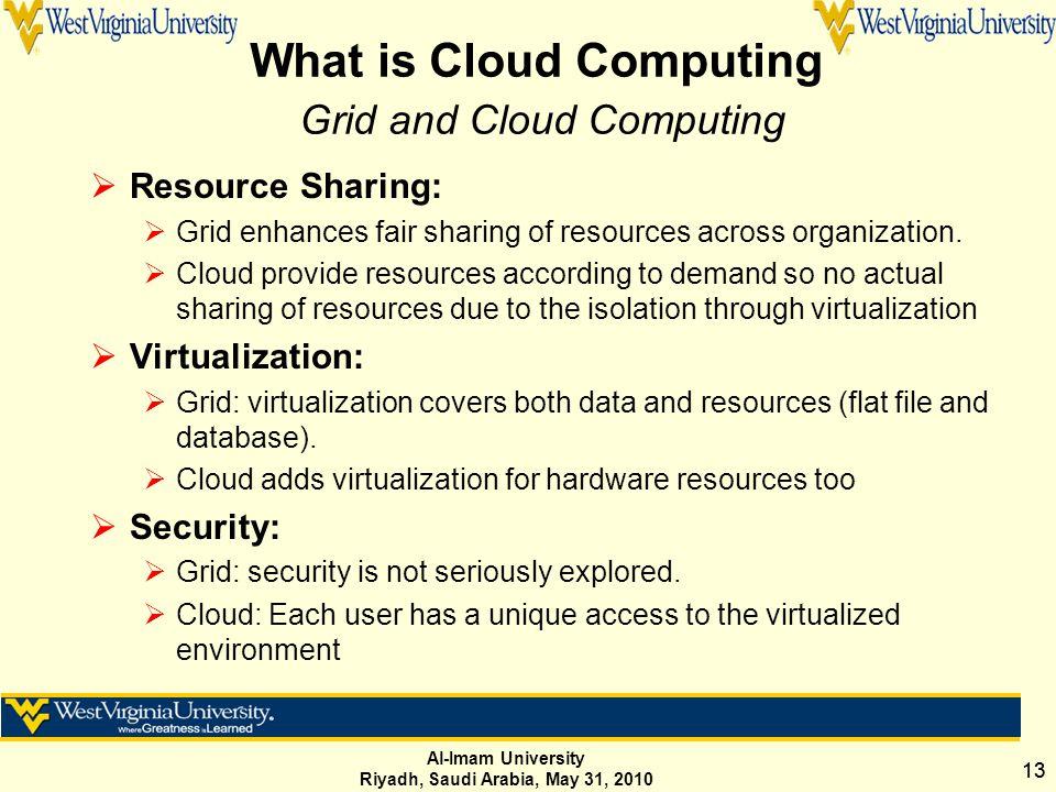 Al-Imam University Riyadh, Saudi Arabia, May 31, 2010 13 What is Cloud Computing Grid and Cloud Computing  Resource Sharing:  Grid enhances fair sharing of resources across organization.