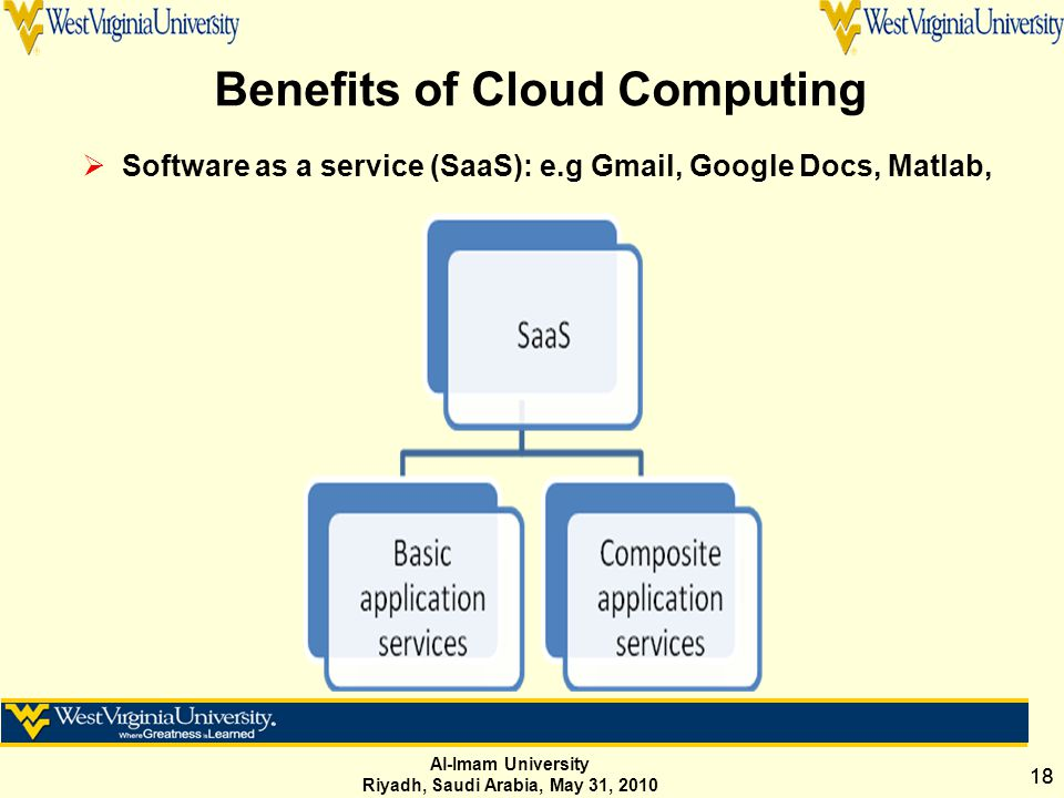 Al-Imam University Riyadh, Saudi Arabia, May 31, 2010 18 Benefits of Cloud Computing  Software as a service (SaaS): e.g Gmail, Google Docs, Matlab,