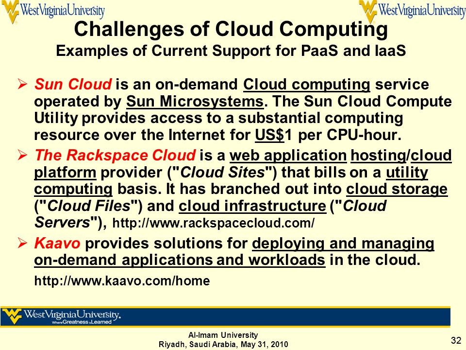 Al-Imam University Riyadh, Saudi Arabia, May 31, 2010 32 Challenges of Cloud Computing Examples of Current Support for PaaS and IaaS  Sun Cloud is an on-demand Cloud computing service operated by Sun Microsystems.