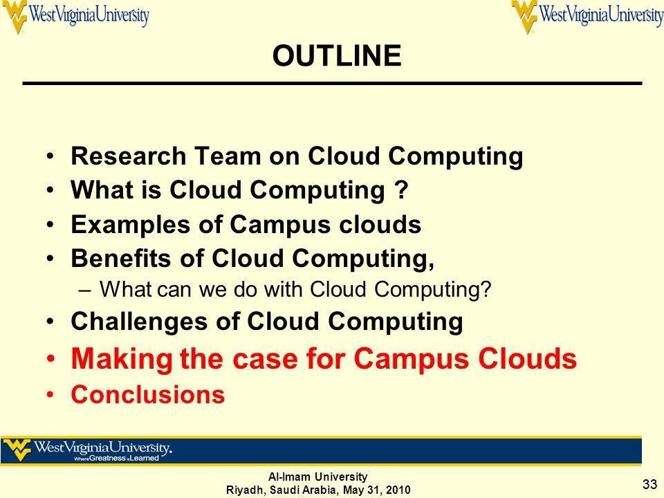 Al-Imam University Riyadh, Saudi Arabia, May 31, 2010 33 OUTLINE Research Team on Cloud Computing What is Cloud Computing .