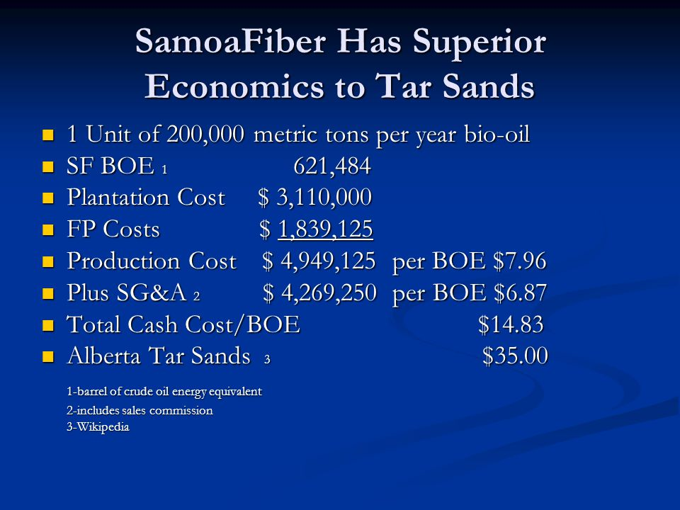 SamoaFiber Has Superior Economics to Tar Sands 1 Unit of 200,000 metric tons per year bio-oil 1 Unit of 200,000 metric tons per year bio-oil SF BOE 1 621,484 SF BOE 1 621,484 Plantation Cost $ 3,110,000 Plantation Cost $ 3,110,000 FP Costs $ 1,839,125 FP Costs $ 1,839,125 Production Cost $ 4,949,125 per BOE $7.96 Production Cost $ 4,949,125 per BOE $7.96 Plus SG&A 2 $ 4,269,250 per BOE $6.87 Plus SG&A 2 $ 4,269,250 per BOE $6.87 Total Cash Cost/BOE $14.83 Total Cash Cost/BOE $14.83 Alberta Tar Sands 3 $35.00 Alberta Tar Sands 3 $35.00 1-barrel of crude oil energy equivalent 2-includes sales commission 3-Wikipedia