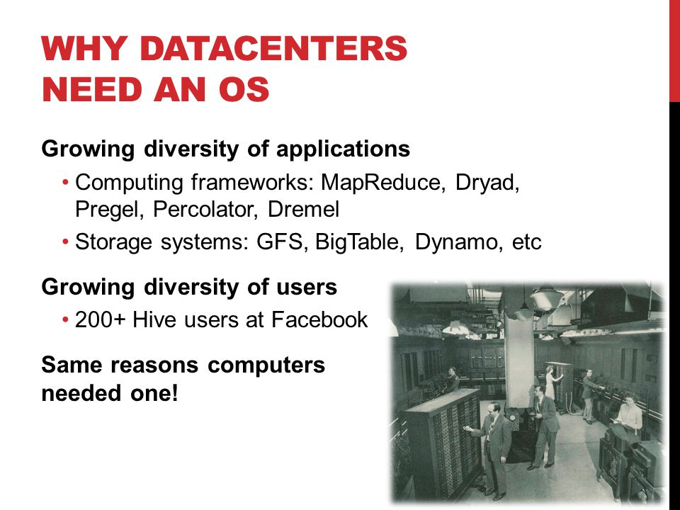 WHAT OPERATING SYSTEMS PROVIDE Resource Sharing Data Sharing Programming Abstractions Debugging & Monitoring time-sharing, virtual memory, … ptrace, DTrace, top, … files, pipes, IPC, … libraries, languages
