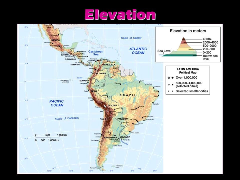 Vertical Climate Zones Climate in Latin America is more affected by elevation than by distance from the equator.