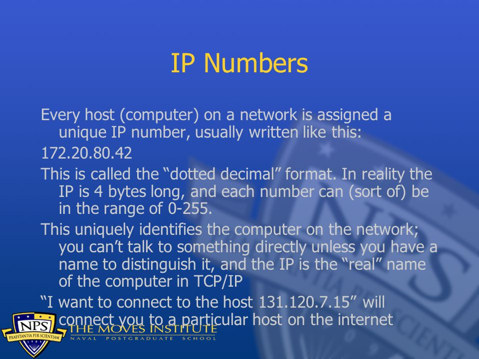 """IP Numbers Every host (computer) on a network is assigned a unique IP number, usually written like this: 172.20.80.42 This is called the """"dotted decim"""
