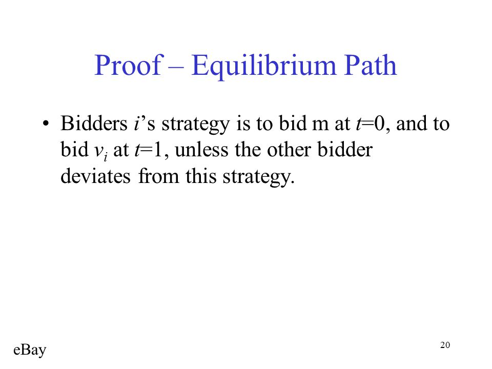 20 Proof – Equilibrium Path Bidders i's strategy is to bid m at t=0, and to bid v i at t=1, unless the other bidder deviates from this strategy. eBay