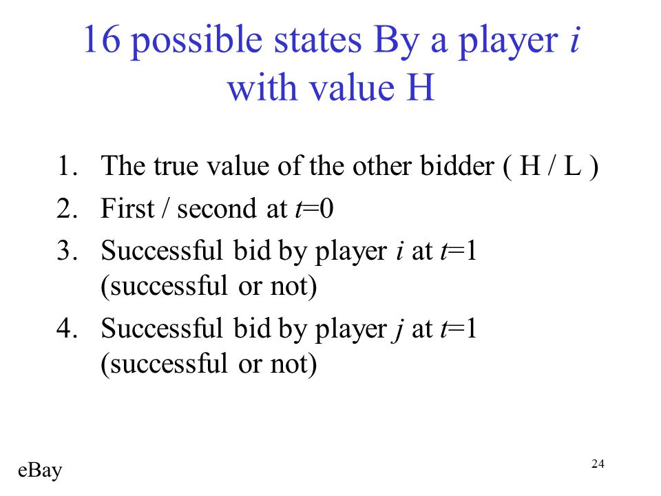 24 16 possible states By a player i with value H 1.The true value of the other bidder ( H / L ) 2.First / second at t=0 3.Successful bid by player i a