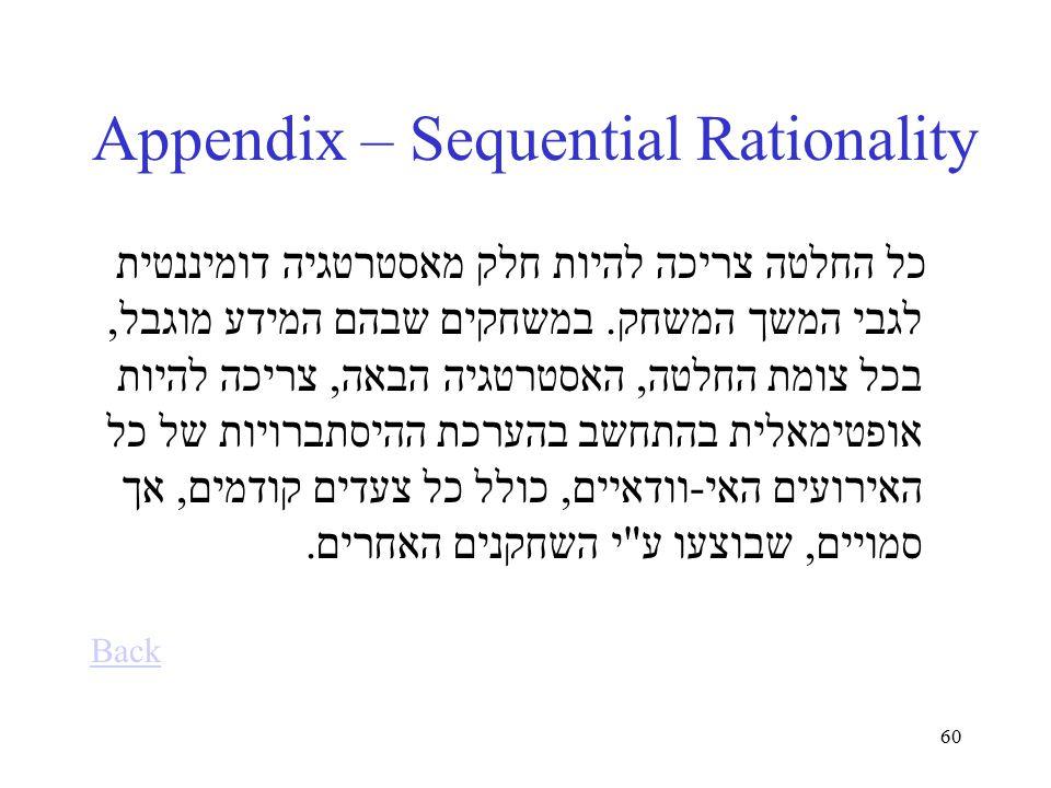 60 Appendix – Sequential Rationality כל החלטה צריכה להיות חלק מאסטרטגיה דומיננטית לגבי המשך המשחק.