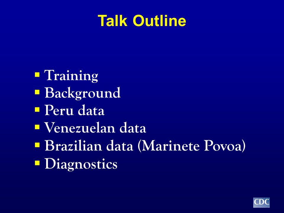 Talk Outline  Training  Background  Peru data  Venezuelan data  Brazilian data (Marinete Povoa)  Diagnostics
