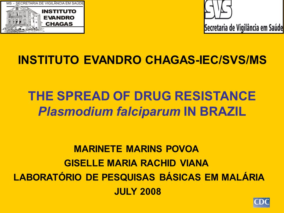 INSTITUTO EVANDRO CHAGAS-IEC/SVS/MS MARINETE MARINS POVOA GISELLE MARIA RACHID VIANA LABORATÓRIO DE PESQUISAS BÁSICAS EM MALÁRIA JULY 2008 THE SPREAD OF DRUG RESISTANCE Plasmodium falciparum IN BRAZIL