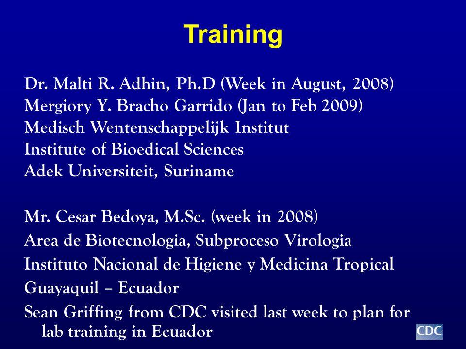 Training Dr. Malti R. Adhin, Ph.D (Week in August, 2008) Mergiory Y.