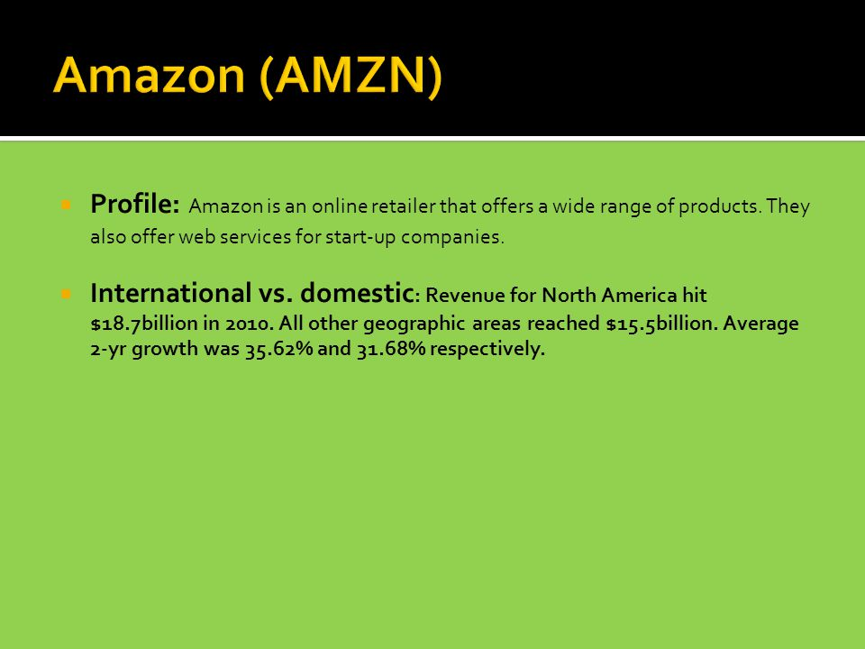  Profile: Amazon is an online retailer that offers a wide range of products.
