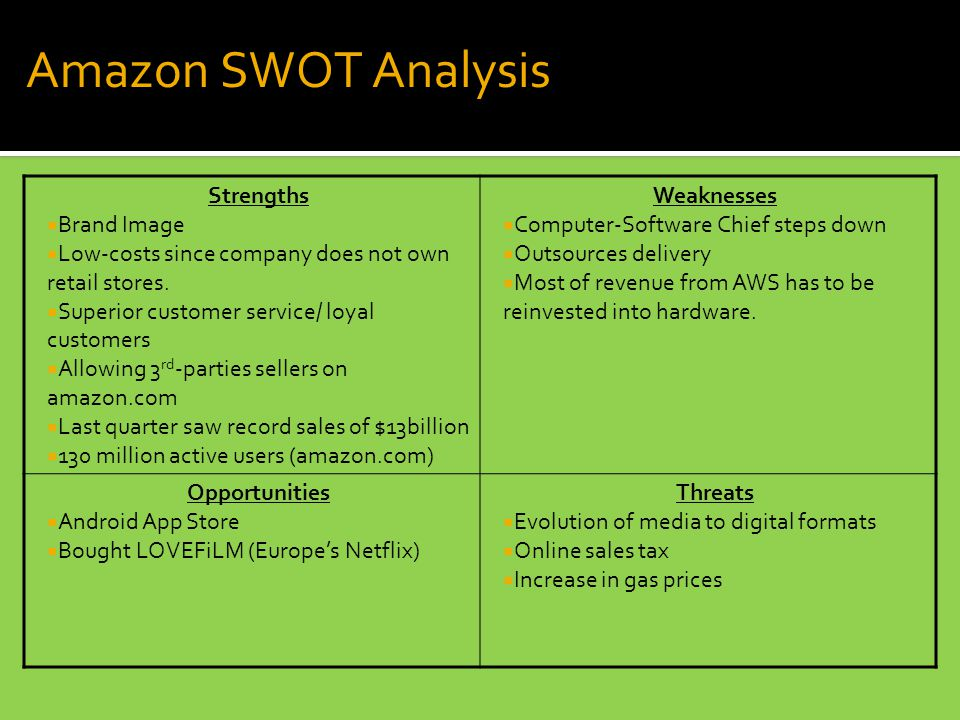 Amazon SWOT Analysis Strengths  Brand Image  Low-costs since company does not own retail stores.