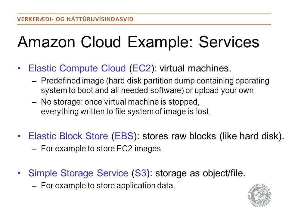 Amazon Cloud Example: Services Elastic Compute Cloud (EC2): virtual machines.