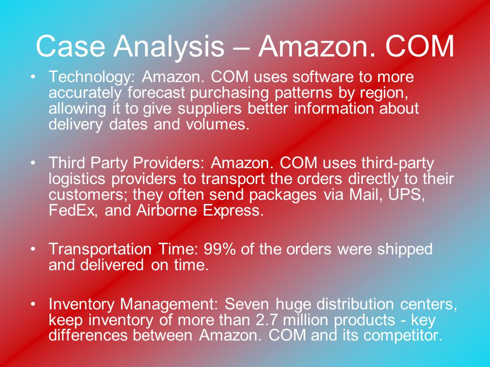 Case Analysis – Amazon. COM Technology: Amazon.