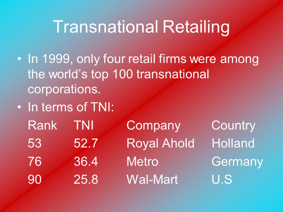 Transnational Retailing In 1999, only four retail firms were among the world's top 100 transnational corporations.