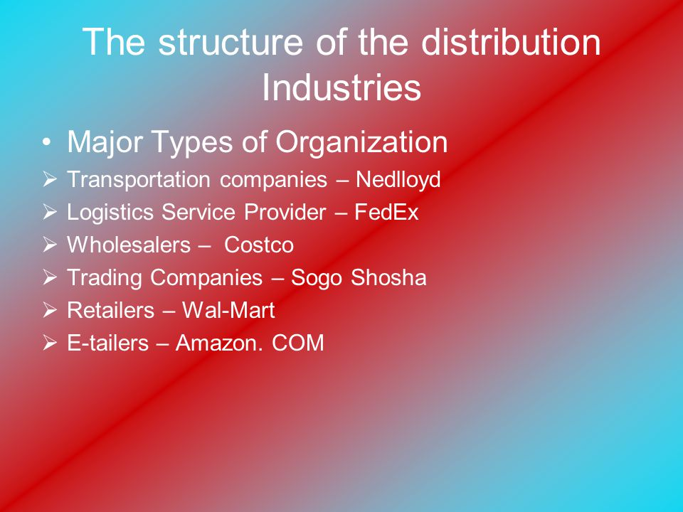 The structure of the distribution Industries Major Types of Organization  Transportation companies – Nedlloyd  Logistics Service Provider – FedEx  Wholesalers – Costco  Trading Companies – Sogo Shosha  Retailers – Wal-Mart  E-tailers – Amazon.