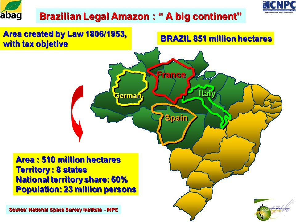 Brazilian Legal Amazon : A big continent Area : 510 million hectares Territory : 8 states National territory share: 60% Population: 23 million persons Source: National Space Survey Institute - INPE Area created by Law 1806/1953, with tax objetive Spain German Italy France BRAZIL 851 million hectares