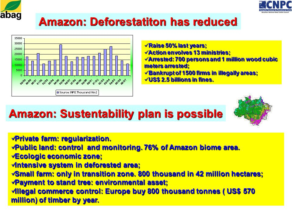 Amazon: Deforestatiton has reduced Amazon: Deforestatiton has reduced ; Raise 50% last years; Raise 50% last years; Action envolves 13 ministries; Action envolves 13 ministries; Arrested: 700 persons and 1 million wood cubic meters arrested; Arrested: 700 persons and 1 million wood cubic meters arrested; Bankrupt of 1500 firms in illegally areas; Bankrupt of 1500 firms in illegally areas; US$ 2.5 billions in fines.