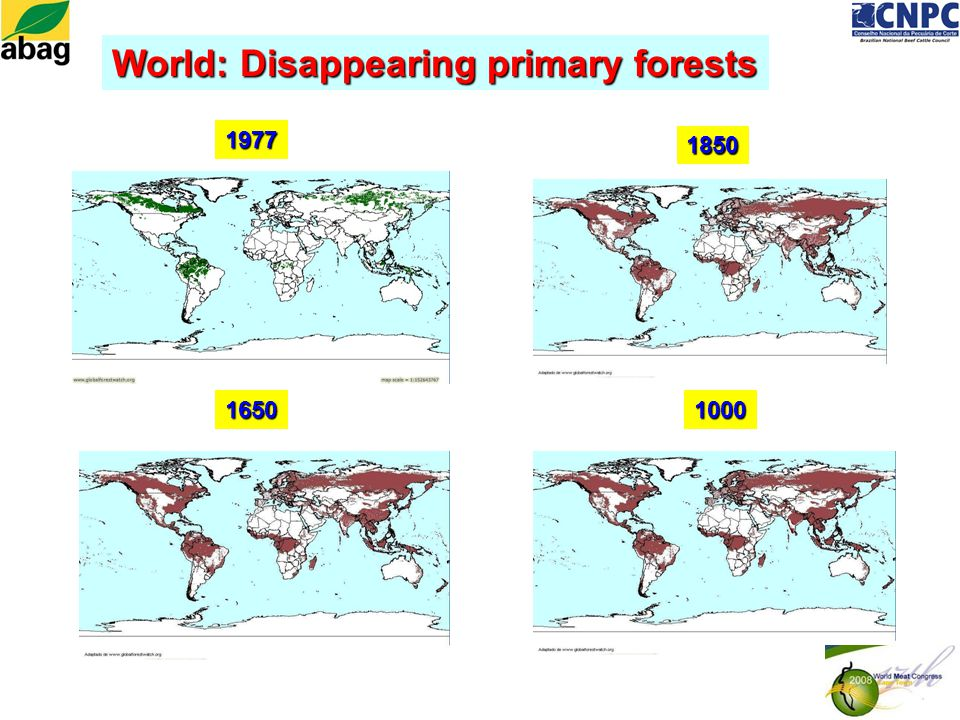1977 1850 16501000 World: Disappearing primary forests