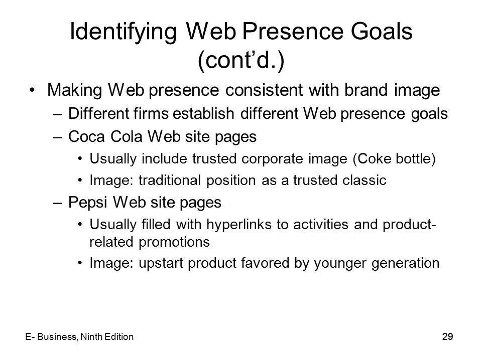 29 Identifying Web Presence Goals (cont'd.) Making Web presence consistent with brand image –Different firms establish different Web presence goals –C