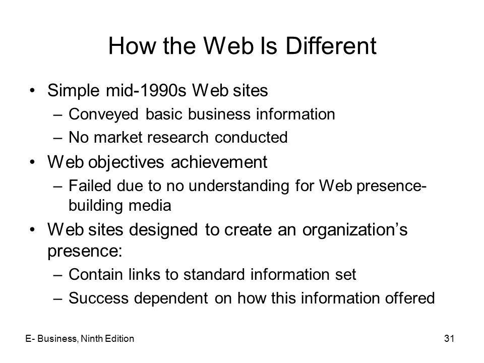 How the Web Is Different Simple mid-1990s Web sites –Conveyed basic business information –No market research conducted Web objectives achievement –Fai