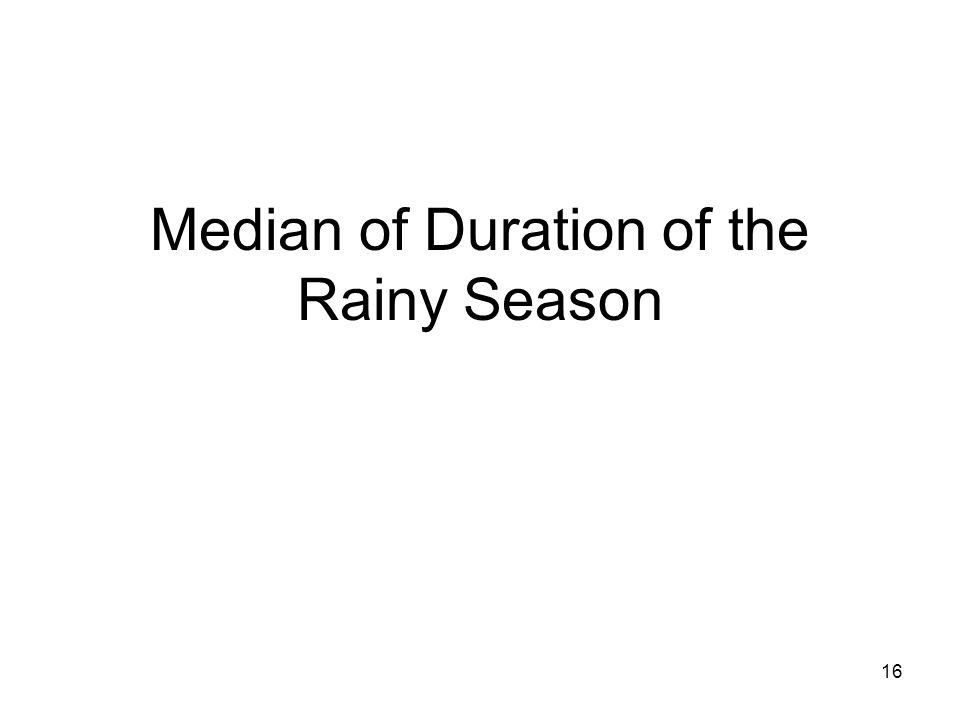 16 Median of Duration of the Rainy Season