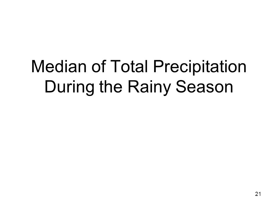21 Median of Total Precipitation During the Rainy Season