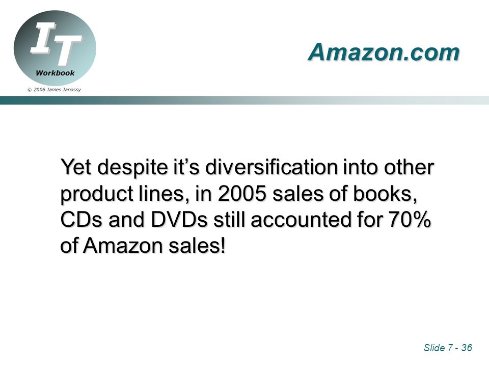 Slide 7 - 36 Amazon.com Yet despite it's diversification into other product lines, in 2005 sales of books, CDs and DVDs still accounted for 70% of Amazon sales!
