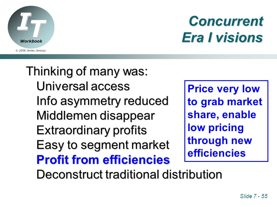 Slide 7 - 55 Thinking of many was: Universal access Info asymmetry reduced Middlemen disappear Extraordinary profits Easy to segment market Profit from efficiencies Deconstruct traditional distribution Price very low to grab market share, enable low pricing through new efficiencies Concurrent Era I visions