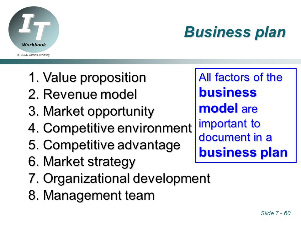Slide 7 - 60 1. Value proposition 2. Revenue model 3.