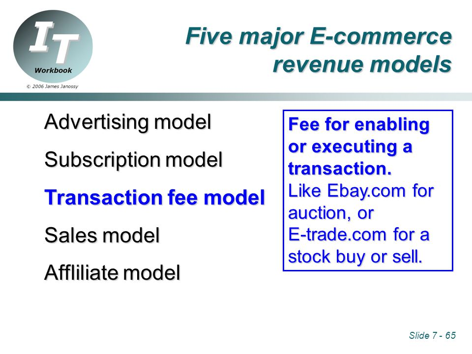 Slide 7 - 65 Advertising model Subscription model Transaction fee model Sales model Affliliate model Fee for enabling or executing a transaction.