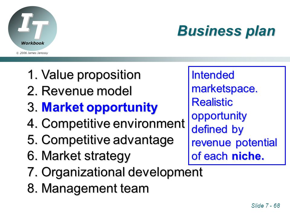 Slide 7 - 68 1. Value proposition 2. Revenue model 3.