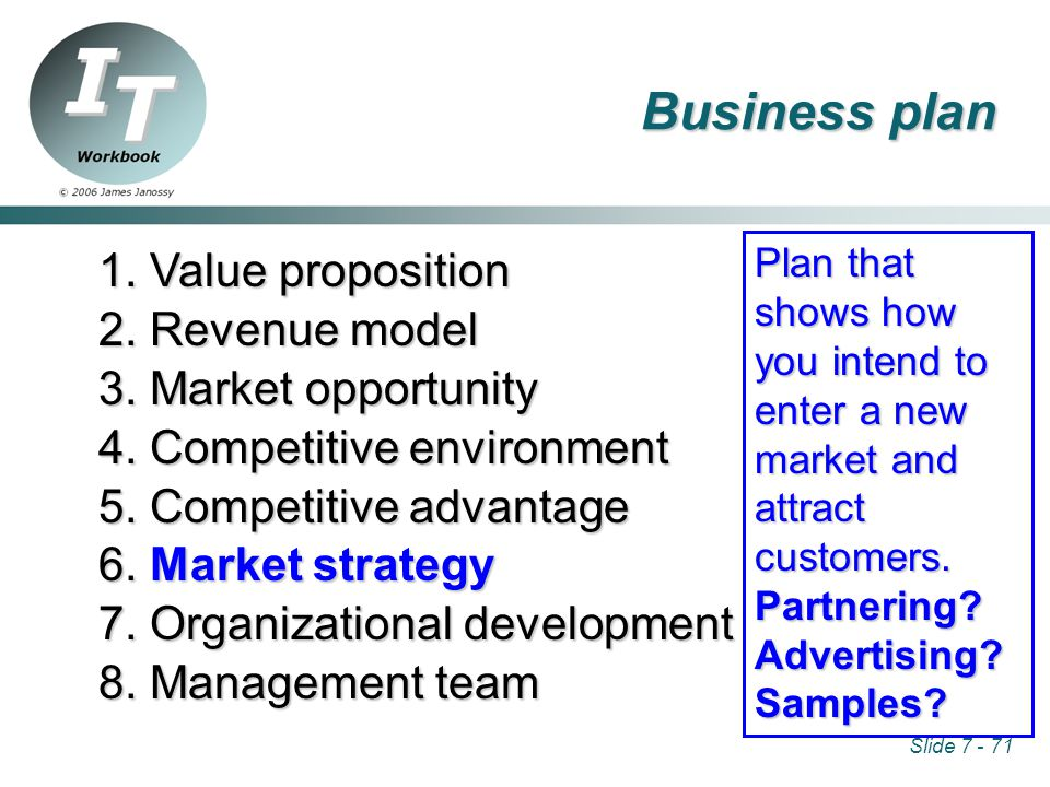 Slide 7 - 71 1. Value proposition 2. Revenue model 3.