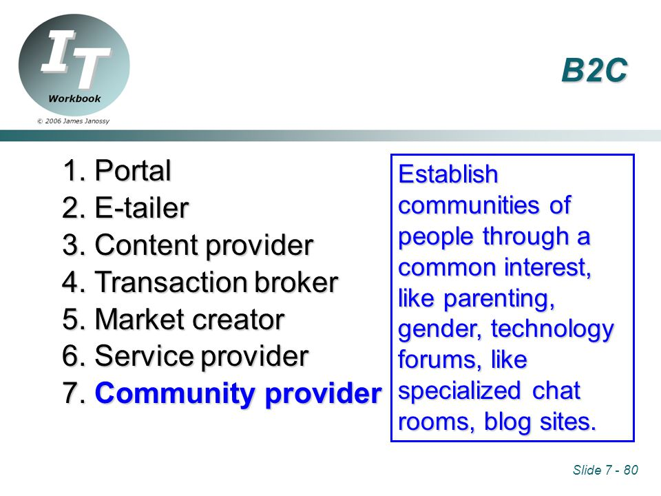 Slide 7 - 80 1. Portal 2. E-tailer 3. Content provider 4. Transaction broker 5. Market creator 6. Service provider 7. Community provider Establish com