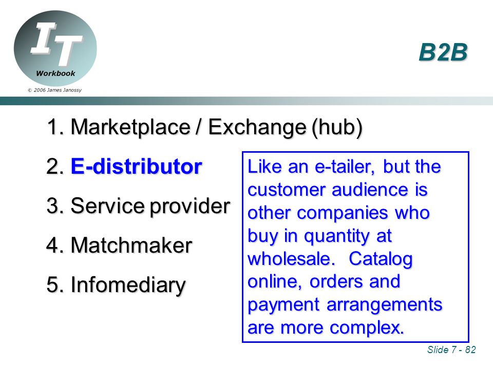 Slide 7 - 82 1. Marketplace / Exchange (hub) 2. E-distributor 3.