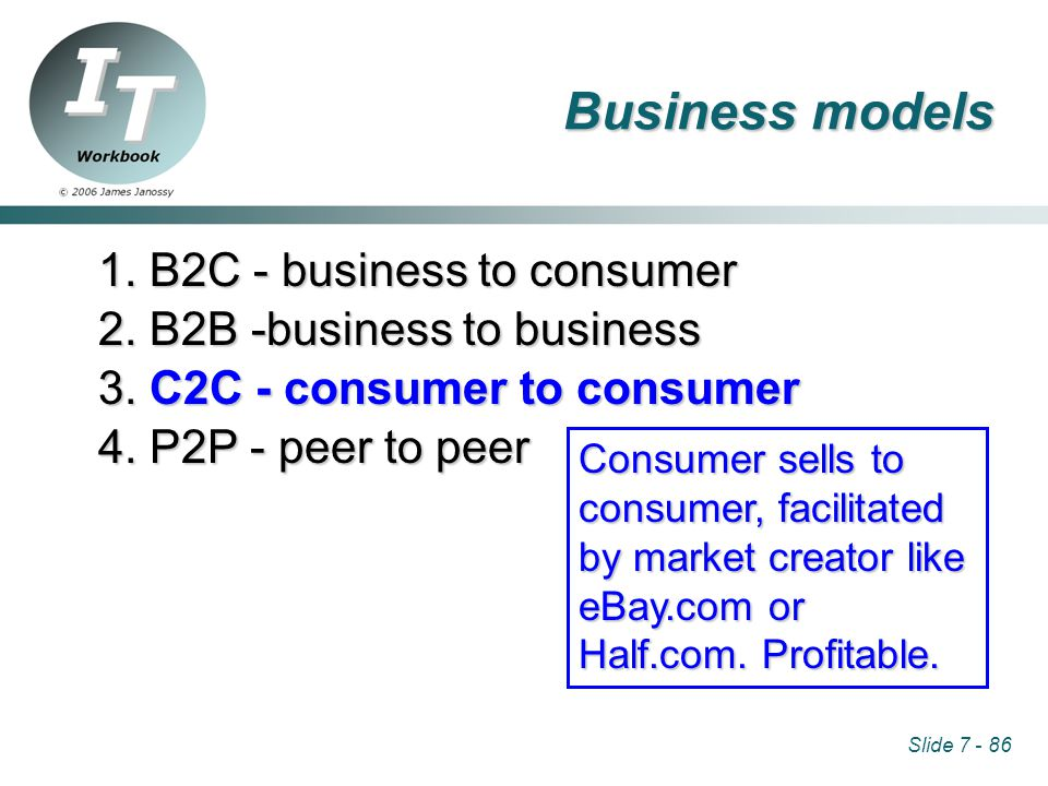 Slide 7 - 86 1. B2C - business to consumer 2. B2B -business to business 3.