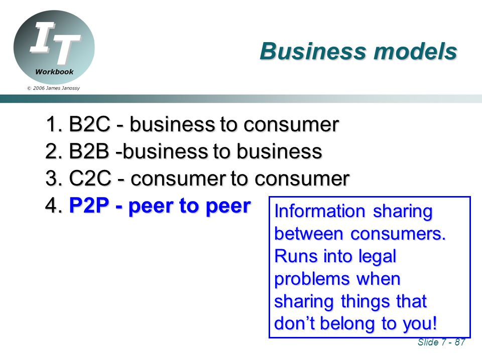 Slide 7 - 87 1. B2C - business to consumer 2. B2B -business to business 3.
