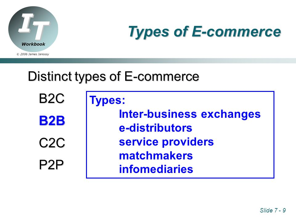 Slide 7 - 9 Distinct types of E-commerce B2CB2BC2CP2P Types: Inter-business exchanges e-distributors service providers matchmakers infomediaries Types of E-commerce