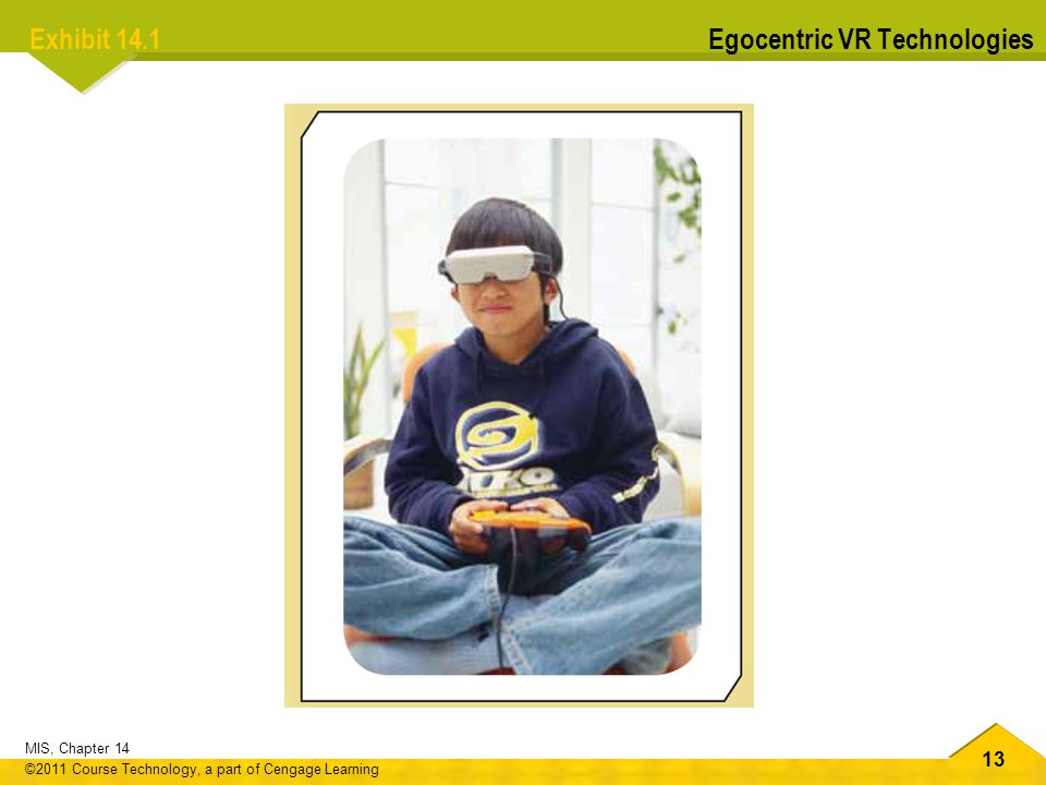 13 MIS, Chapter 14 ©2011 Course Technology, a part of Cengage Learning Exhibit 14.1 Egocentric VR Technologies